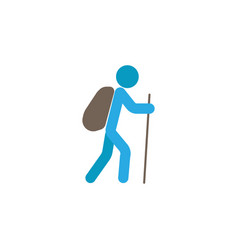tourist backpacker flat icon travel tourism vector image