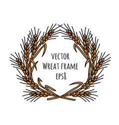 wheat rye frame wreath isolate object vector image