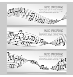 Music banners set with notes and sound wave vector