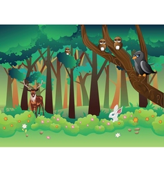 Summer forest and animals vector