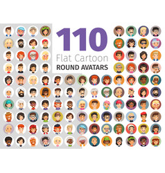 Flat cartoon round avatars big collection vector