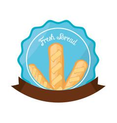 fresh bread baguette organic label vector image