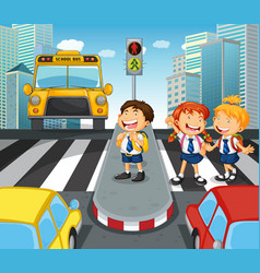 School children crossing street in city vector