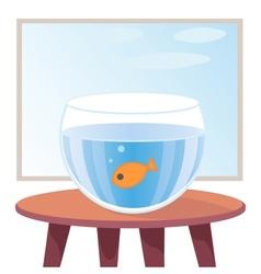Goldfish in aquarium on table vector image