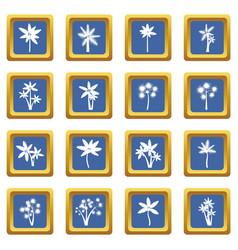 palm tree icons set blue vector image