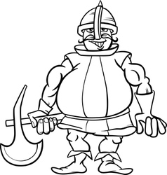 Knight with axe cartoon coloring page vector
