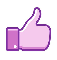 Violet thumb up icon vector