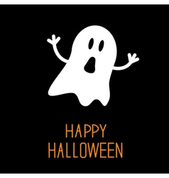 Funny halloween ghost card vector