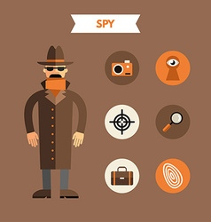 Flat design of spy with icon set infographic vector