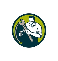 Mechanic brandishing spanner wrench circle retro vector