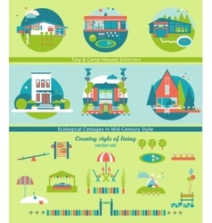 Ecological cottages and camp houses set vector