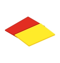 Red and yellow referee cards isometric 3d icon vector