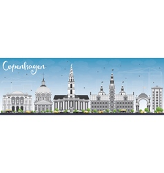 Copenhagen skyline with gray landmarks vector
