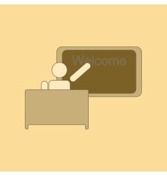 Flat icon thin lines table board teacher vector
