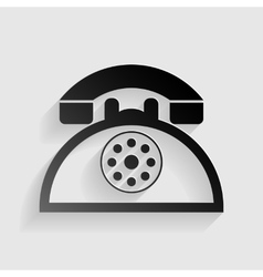 Retro telephone sign black paper with shadow on vector