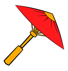 asian red parasol or umbrella icon cartoon vector image