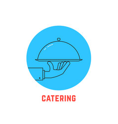 Blue round catering logo vector
