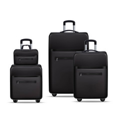 Business travel black realistic luggage set vector