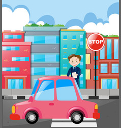 businessman crossing the road vector image