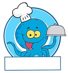 Cartoon octopus as waiter vector