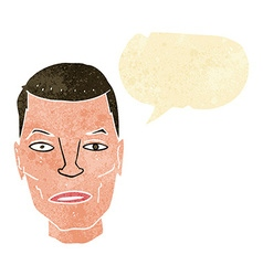 Cartoon serious male face with speech bubble vector