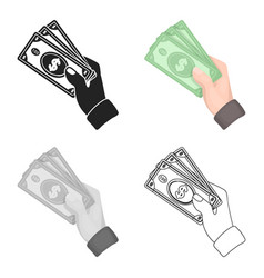 cash icon in cartoon style isolated on white vector image vector image