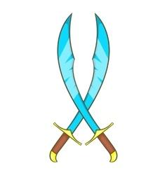 Crossed scimitars icon cartoon style vector image vector image