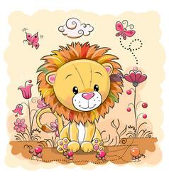 Cute cartoon lion on a meadow vector