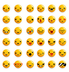 cute emoticon smile emoji icons set isolated 3d vector image