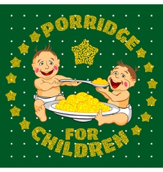 Drawing two babies who eat porridge vector