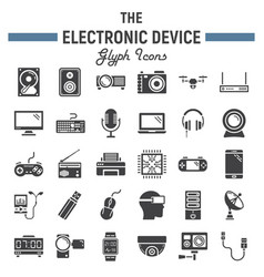 Electronic device solid icon set technology vector