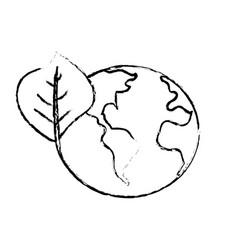 Figure global earth planet with leaf symbol to vector