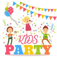Flat cartoon kid party banner poster invitation vector