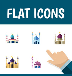 flat icon mosque set of islam mosque traditional vector image vector image