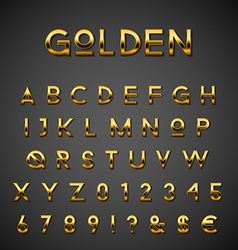 Golden alphabet set vector image vector image