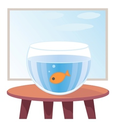 Goldfish in aquarium on table vector image