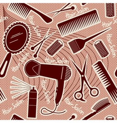 hairdressing equipment seamless pattern background vector image vector image