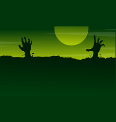 Halloween with zombie landscape on green vector