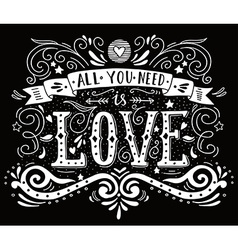 Hand drawn vintage print with hand lettering and vector image vector image