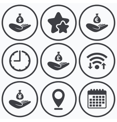 Helping hands icons Protection and insurance vector image vector image