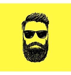 Hipster fashion man hair and beards Hand drawn vector image