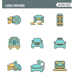 Icons line set premium quality of cars driving vector