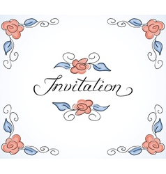 Invitation card with floral pattern vector image