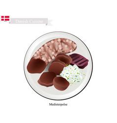 medisterpolse or pork sausage a popular dish in d vector image vector image