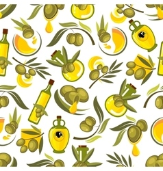 Olive fruits and oil bottles seamless pattern vector
