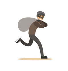 Robber in mask running with huge sack colorful vector