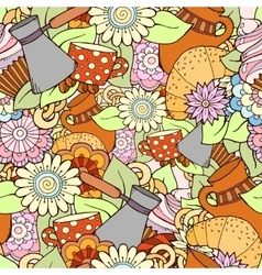 Seamless tea and coffee doodle pattern with vector image vector image