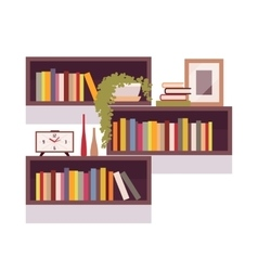 Set of retro rectangle bookshelves vector