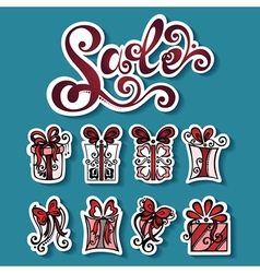 Set of Stickers with Ornamental Holiday Gifts vector image