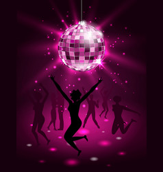 silhouette people dancing in night-club disco vector image vector image